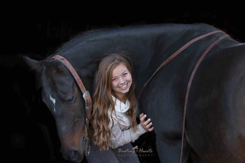 black background horse equine portrait senior photos oregon willamette valley