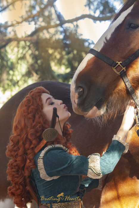 MERIDA, disney, brave, clydsedale, cosplay, oregon horse photographer equine photography dress up